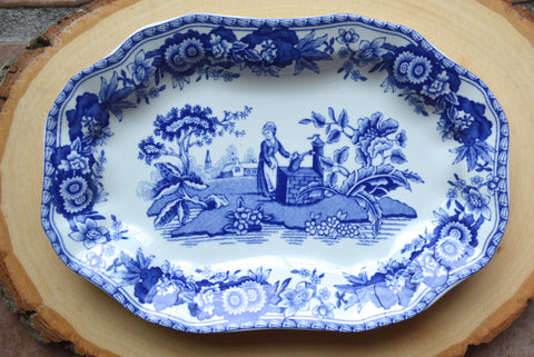 Spode Italian Blue TransferWare Miniature Platter Tray or Trinket Dish Girl at Well Rectangular Shape