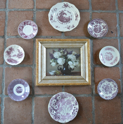 Instant Wall Decor!  Framed Lilac Hydrangea Tulip Print with 8 Mix n Match Purple English Transferware Plates