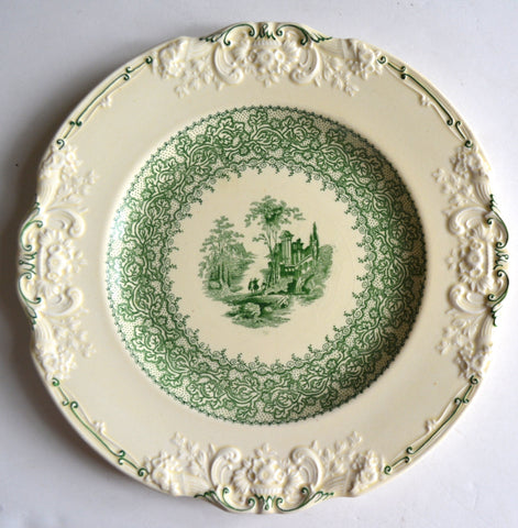 Antique Green English Transferware Plate / Charger Marlborough Embossed Floral Border