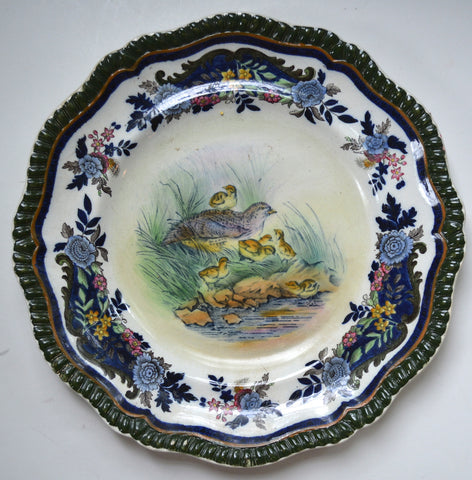 Antique Copeland Late Spode Upland Partridge Cobalt Blue Polychrome Transferware Plate Game Bird Handpainted in Vivid Detail