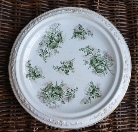Antique Victorian Green English Transferware Hot Plate / Tea Trivet Roses Daisies Bluebells