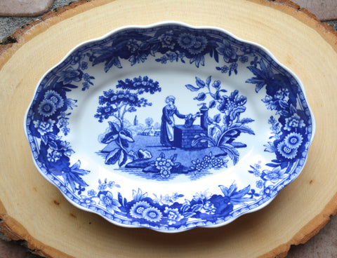 Spode  Blue TransferWare Miniature Scalloped Oval Platter Tray or Trinket Dish Girl at Well