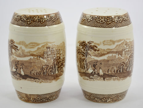Royal Staffordshire Jenny Lind Brown Transferware Large Salt & Pepper Shaker Set