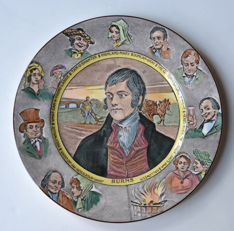 Royal Doulton Black Transferware Robert Burns Poet Portrait Plate with Characters