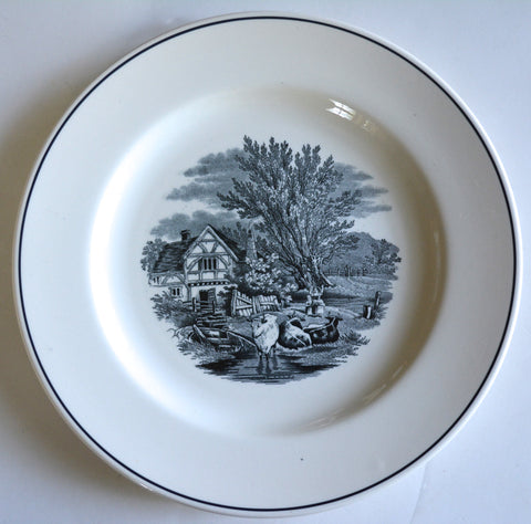 Vintage Spode Black & White Toile Transferware Plate Cows Copeland Rural Scenes Grazing Cattle Cottage
