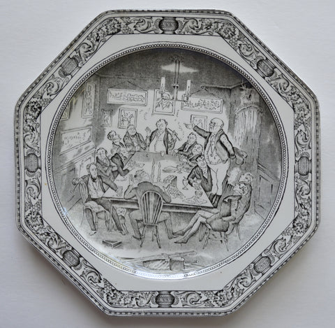 Vintage English Black Transfeware Octagon Shaped Plate Charles Dickens Mr Pickwick addresses the Club