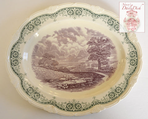 Scenes After Constable Green Purple Two Color English Transferware Platter Pastoral Scene Noon