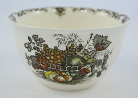 Dark Brown English Transferware Open Sugar Bowl / Cranberry Bowl Masons Hand Painted Fruit Basket Autumn Colors with Fruits