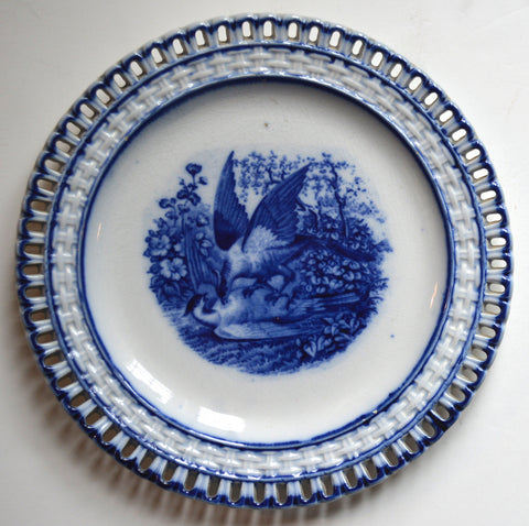 "Antique Flow Blue Plate w/ Basketweave Reticulated Border ""Eat Your Heart Out"" Birds"