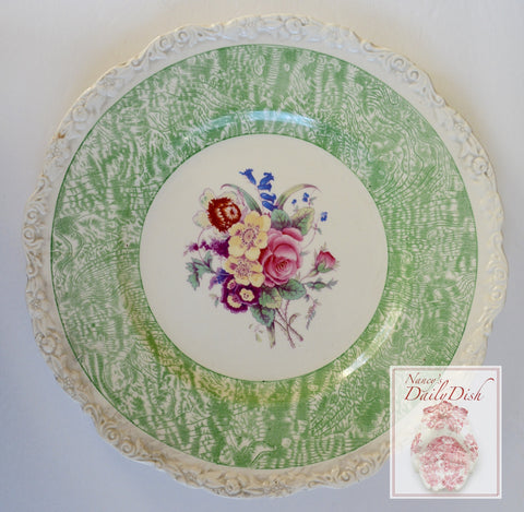 Circa 1930 Faux Bois Green Hand Painted English Transferware Charger Plate Bouquet of Roses and Flowers STUNNING