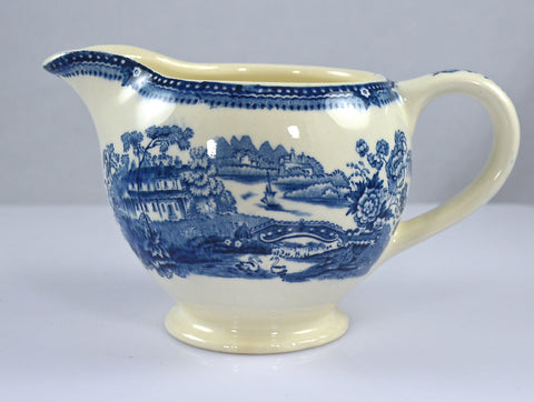 Clarice Cliff Blue Transferware Creamer Pitcher Swans Bridge Wading Waterfall Roses Sail Boat Tonquin