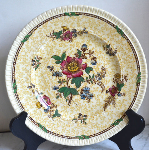 Antique Staffordshire Yellow Chintz & Brown Two Color Transferware Plate Roses Flowers