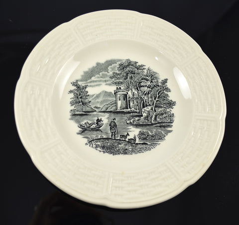 Wedgwood River Scenes Vintage English China Black Transferware Plate w/ Billy Goat & Row Boat Creamware Embossed Border