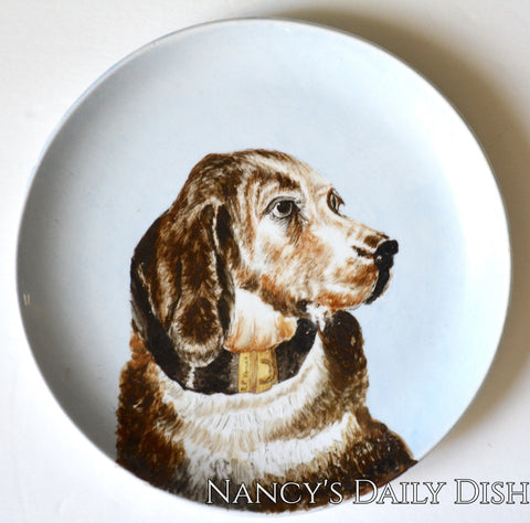 Antique Brown English Setter Portrait Dog Plate Hand Painted Parisian Granite Thomas Elsmore