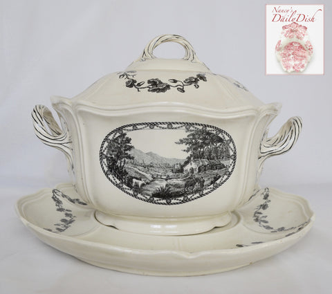 Antique Wedgwood French Country Black Transferware Bewick Acorn & Leaf Soup Tureen & Platter