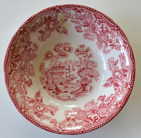 Meakin Tonquin Dessert / Side Bowl or Candy Dish Flowers Roses Red Toile English Transferware