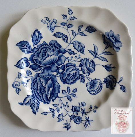 Vintage Blue Toile Transferware Square Plate English Country Roses