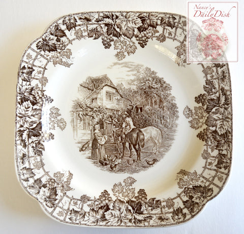 Spode Copeland Brown Transferware Square Plate Farm Dog Roosters Chickens Vintage English c 1927-37
