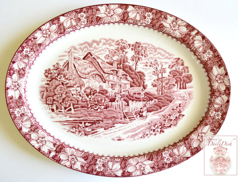 "X Lg 16"" Vintage Red Toile Transferware Platter Children Playing / Picket Fence / English Cottage"