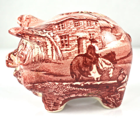 Vintage Figural Red Transferware Pig Piggy Bank English Village James Kent HTF