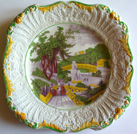 Purple Polychrome Square Transferware Staffordshire Plate Relief Border Fountain Catskill Moss Fairmount Garden Ridgway