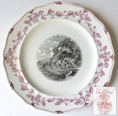 Vintage French Country River Scene w/ Dogs Horses Wedgwood Black Purple Transferware Plate #1