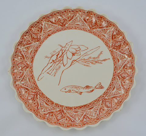 Aesthetic Movement Cayenne Red / Orange Transferware Plate Antique Spode Copeland Fluted Edge Water Lily Aquatic Scene Koi Fish  Pond