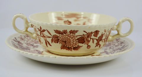 Vintage Spode Aster Brown Transferware Dual Handled Soup Bowl & Plate Copeland Beverley Italian Countryside