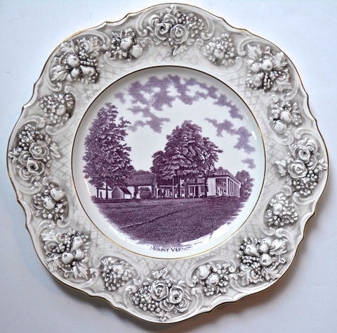 Historical Staffordshire Purple Transferware Octagon Shaped Charger Plate Mount Vernon Embossed Roses Border