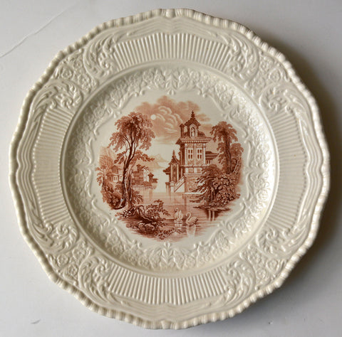 Brown Toile Transferware Creamware Scenic Plate Charger Wading Swans RARE Embossed Scrolled Border Royal Doulton