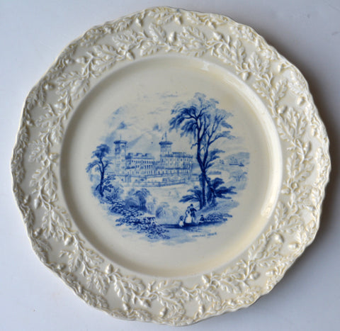 Vintage Blue Transferware Cream Ware Scenic Plate English Country Manor House Embossed Oak Leaf & Acorn Border