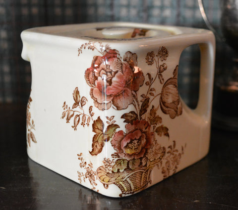 Vintage English Cottage Style Miniature Square Cube Teapot Charlotte Brown Polychrome Transferware Basket of Roses