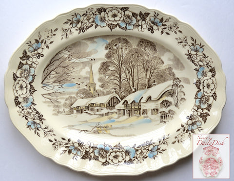 Brown English Transferware Platter Snow Covered English Cottage Holy Trinity Church