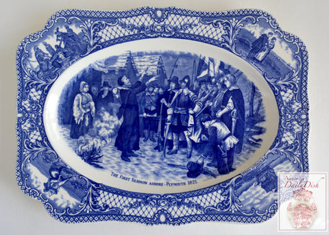 Blue Transferware Platter The First Sermon Colonial Times American History / Historical Staffordshire