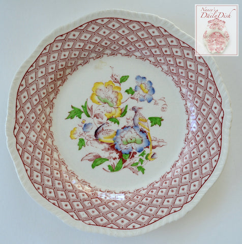 English Earthenware Red Transferware Plate Hand Painted Victorian Bouquet of Flowers & Birds Ridgway