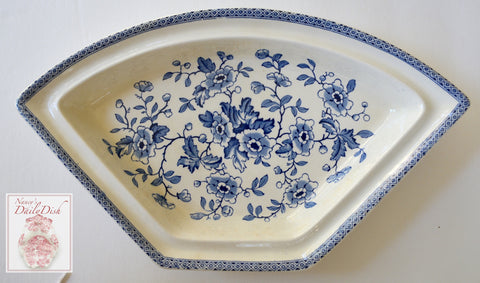 Blue English Transferware Chinoiserie Triangular Shaped Serving Dish Platter