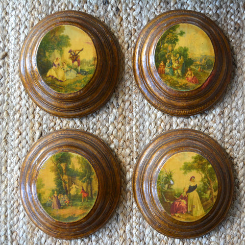 Vintage Set 4 French Provincial Oval Florentine Gilt Antique Gold Finished Stacked Wood Plaques - Romantic Scenes