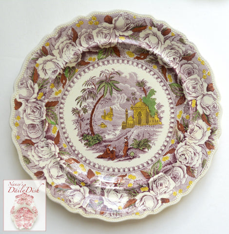 Staffordshire China Purple Chinoiserie Hand Painted Transferware Salad Plate Ridgways Oriental Camel Sailboat