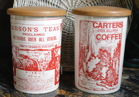 RARE Pair Red Transferware Antique Advertising English Ironstone Lidded Kitchen Tea & Coffee Canisters Jar Utensil Holder