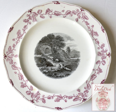 Vintage French Country Scene w/ Boys & Their Dog at the River Wedgwood Black Purple Transferware Plate #2