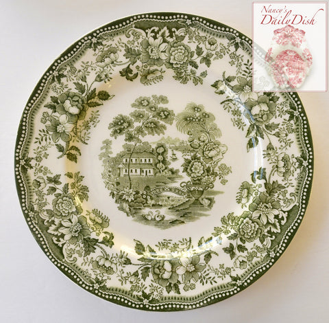 "HTF Green Transferware Tonquin 8"" Salad Plate Clarice Cliff Staffordshire Vintage Roses Bridge"