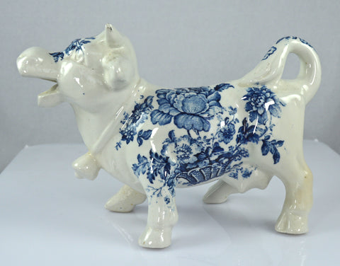 RARE Vintage Blue and White English Transferware Laughing Cow Bull Creamer Pitcher Charlotte