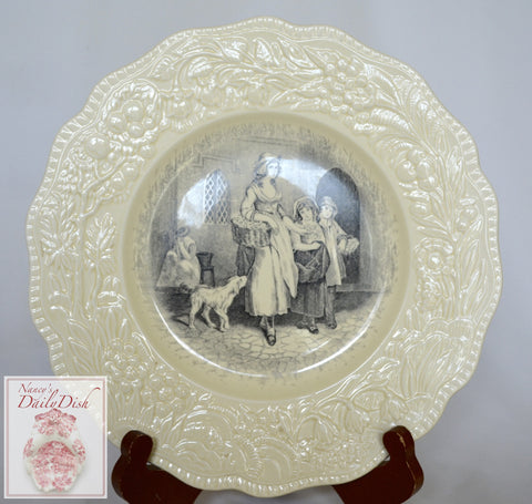 Antique Black Toile Transferware Charger Plate Creamware Embossed Border Mother Children Dog