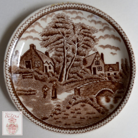 Antique Brown Transferware Butter Pat Coaster Childs Toy Plate  Cottage Bridge Rural England