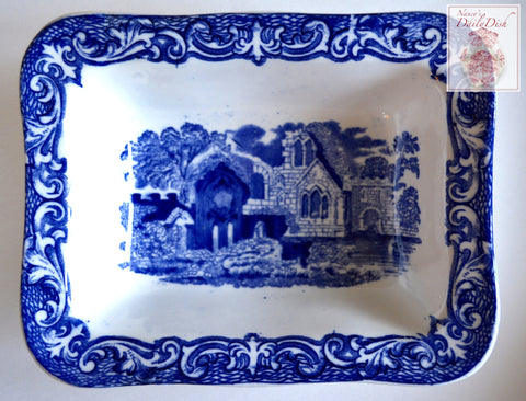 Blue & White Antique English Transferware Rectangular Bowl Shredded Wheat Dish George Jones