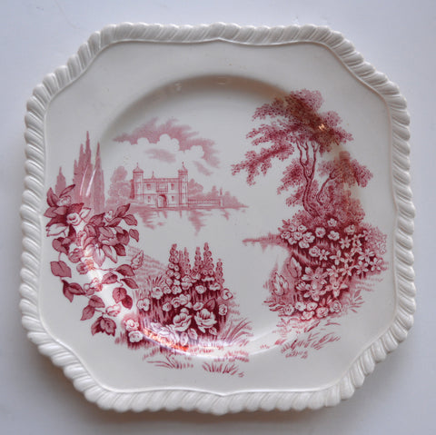 Pink Red Toile TRANSFERWARE Square Plate Castle on Lake Foxgloves Roses