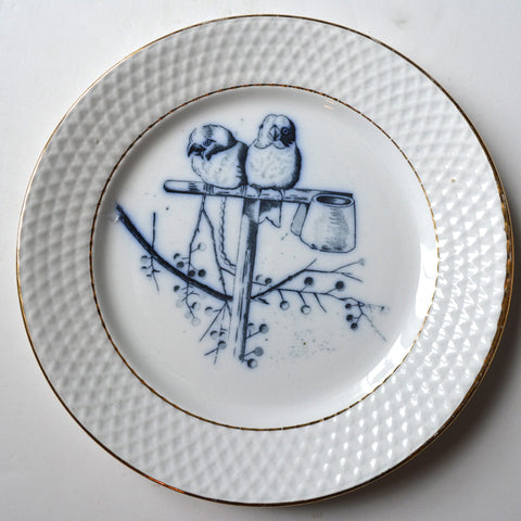 Antique Aesthetic Flow Navy Blue Transferware Plate Birds on a Perch Embossed Border