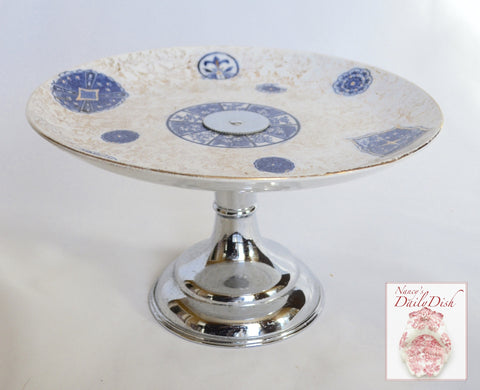 Aesthetic Movement Chinoiserie Blue Transferware Cookie Stand Compote