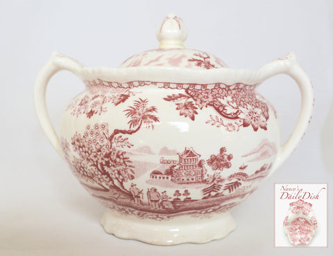 Red Transferware Vintage Chinoiserie Tea Caddy or Dual Handled Sugar Bowl Sea Port Seaside Village