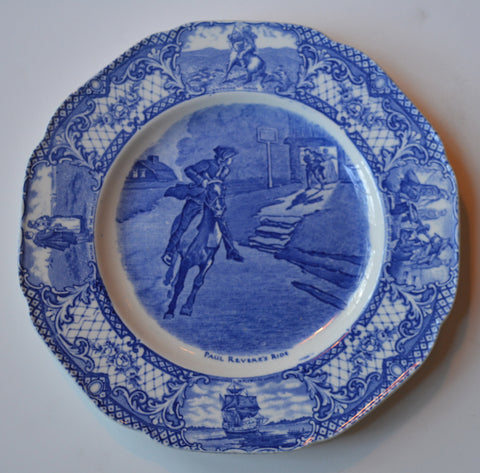 Blue Colonial Times Transferware Rimmed Soup Bowl Paul Revere's Ride American History Historical Staffordshire